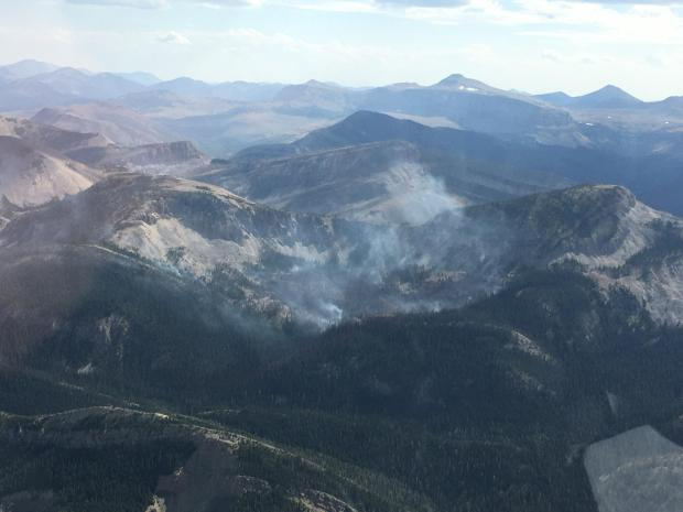 Aerial photo showing Wood Lake fire activity on August 19th, 2020