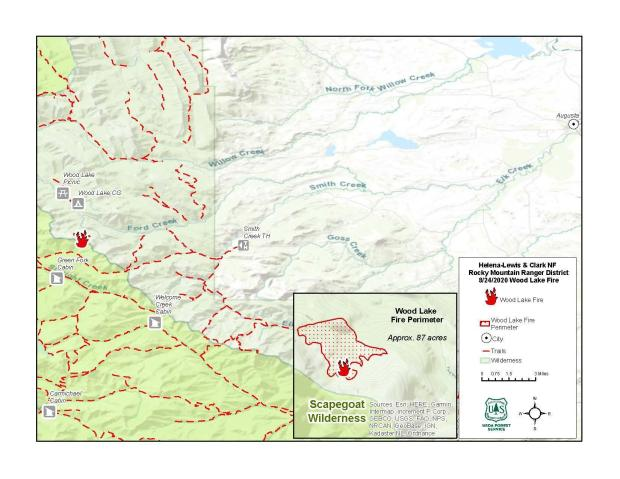 Topographic Fire Map for the Wood Lake Fire.  Fire perimeter is outlined in red in the bottom right of map.  A red fire icon shows the location of the fire on the topographical map