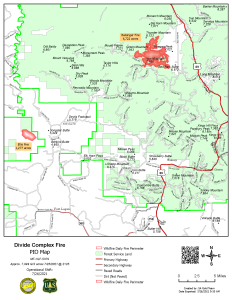 Map shows location and extent of Divide Complex - Balsinger and Ellis Fires for 7/26/2021