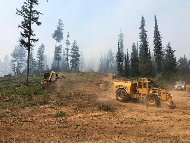 Heavy equipment works on fire suppression rehab.