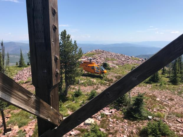 fire communications staff used a helicopter to bring a repeater to Mineral Peak