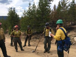 Archaeologist briefing Firefighters about Nez Perce and Lewis & Clark History