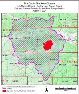 Map shows a large area closure in the Dry Fork area of the Lolo National Forest Scapegoat Wilderness and upper Danaher area of the Flathead National Forest Bob Marshall  Wilderness. The Dry Cabin Fire perimeter from July 28 is shown  on the map.