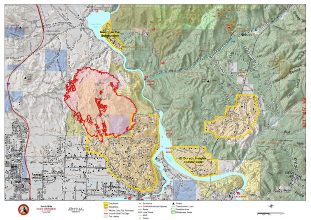 Map showing the current fire perimiter and evacuation areas for the North Hills Fire 7/29/19.