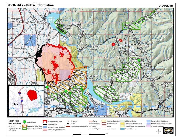 Map showing current fire perimeter and evacuation areas for the North Hills Fire 7/31/2019