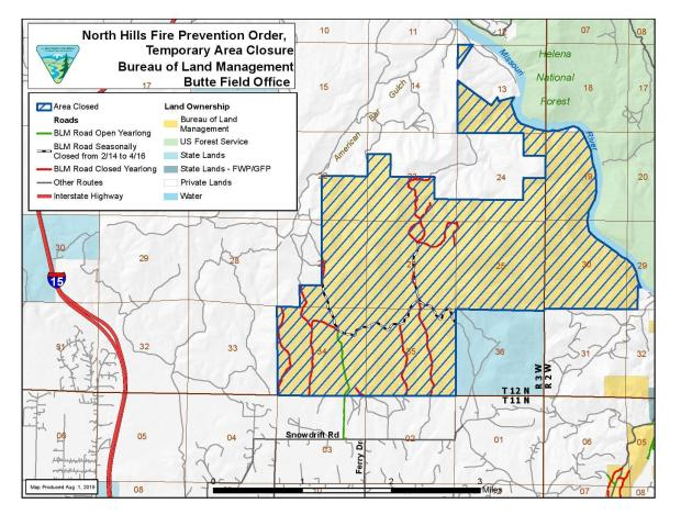 Map of BLM closure areas as of August 1, 2019.
