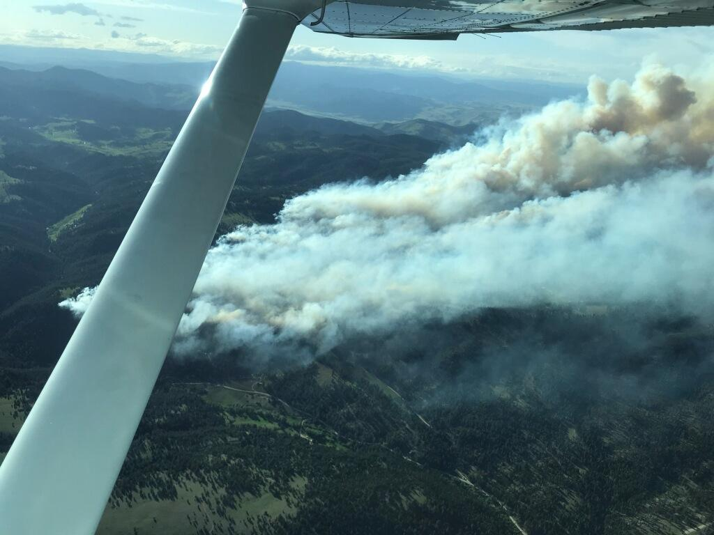 Lump Gulch Fire from fixed wing aircraft.
