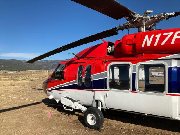 Close up view of the Blackhawk Helicopter on the Luna Fire near Chacon, NM