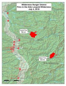 Map of Black Fire & South Fire 07/04/2019