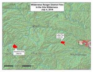 Map of Little Fire and Woodrow Fire