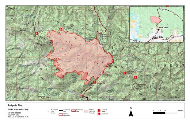 Image of Perimeter Map of Tadpole Fire on June 22, 2020