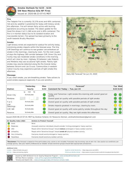 IMAGE OF THE SMOKE OUTLOOK REPORT FOR TADPOLE FIRE JUNE 23 2020
