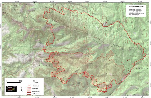 Image of Infrared Perimeter Map of Tadpole Fire for June 23 2020