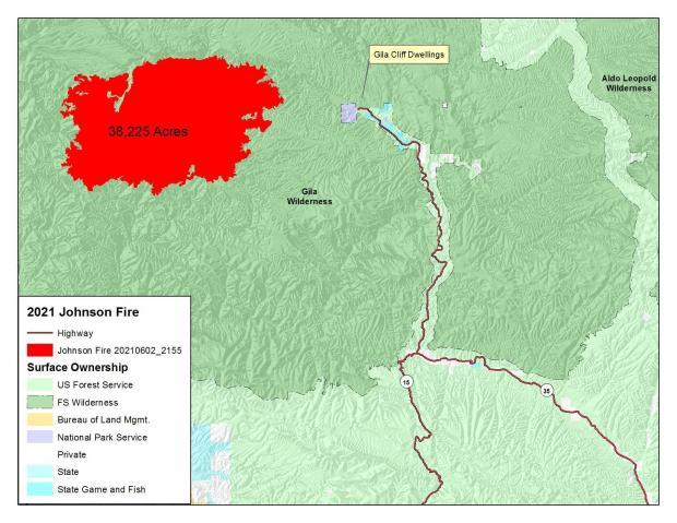 Image of the Public Information Map June 3, 2021 for the Johnson Fire