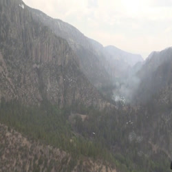Helicopter view of the west fork, showing minimal fire intensity and impacts