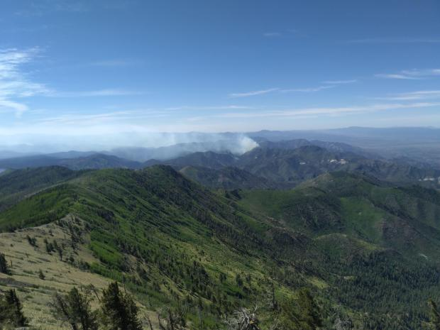 looking at Johnson Fire from Mogollon Baldy Fire Lookout