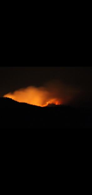 Nigh View of Johnson Fire from Gila Center Heliport