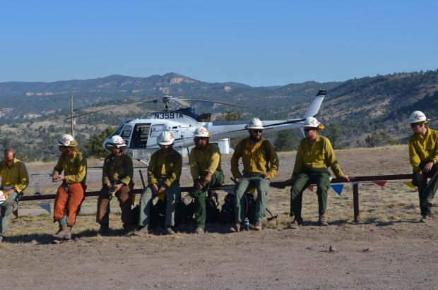 Gila Hotshots being inserted to Johnson Fire by Air