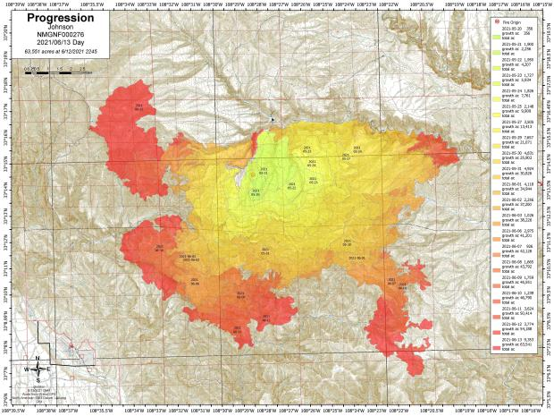 Progression Map for Johnson Fire 6_13_21 showing northwest and southwest movement