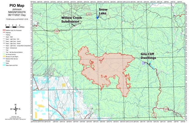 Map showing spread and location of fire in relation to values at risk.