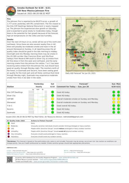 This report shows the expected air quality for communities around the Johnson Fire.