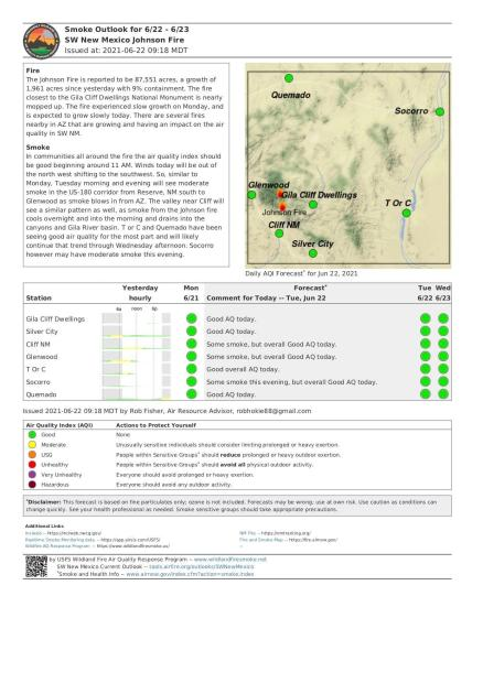 The Reserve to Glenwood corridor will see moderate smoke impacts from the Arizona fires