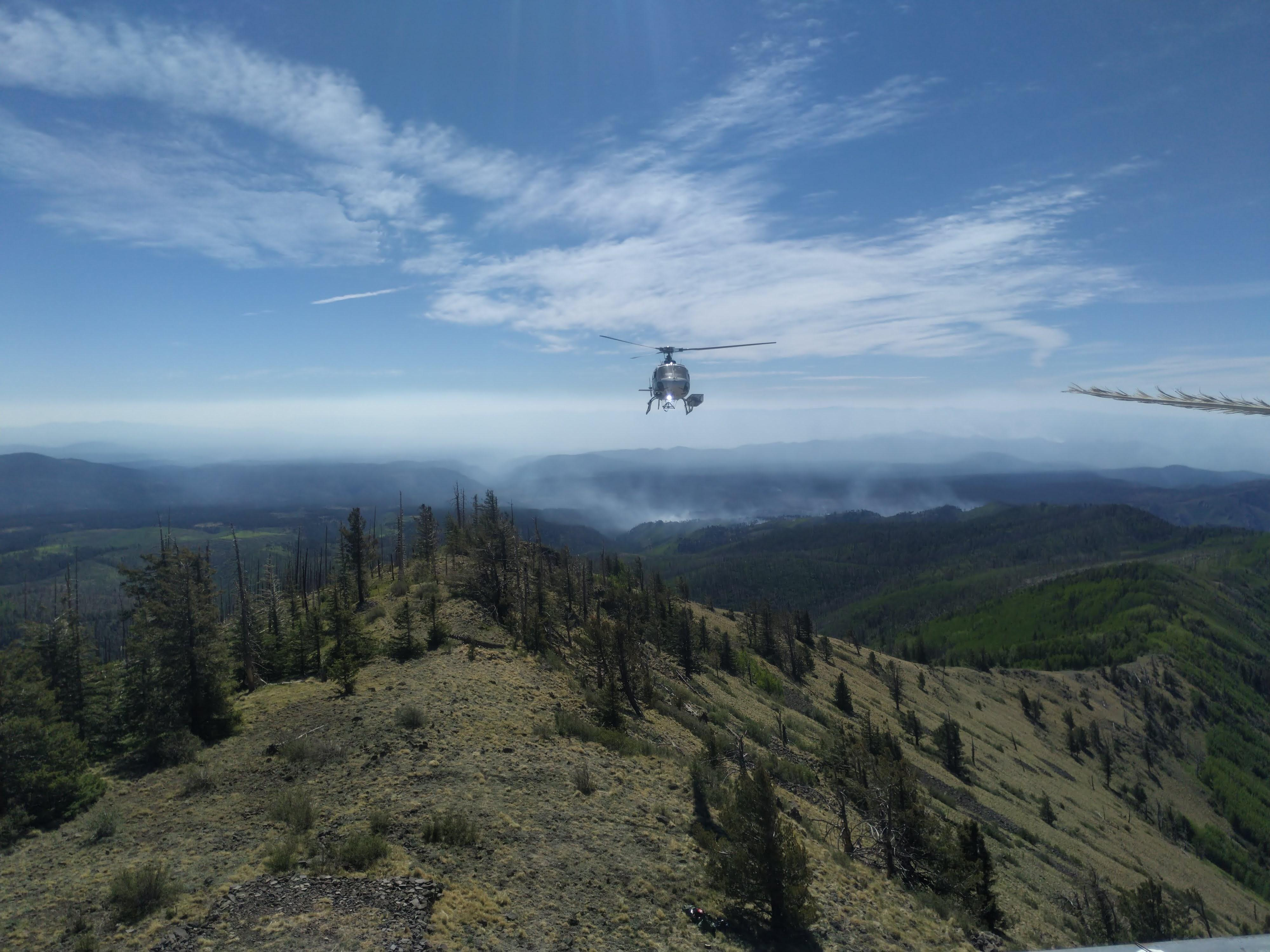 Looking east toward Johnson Fire with Helicopter in Foreground