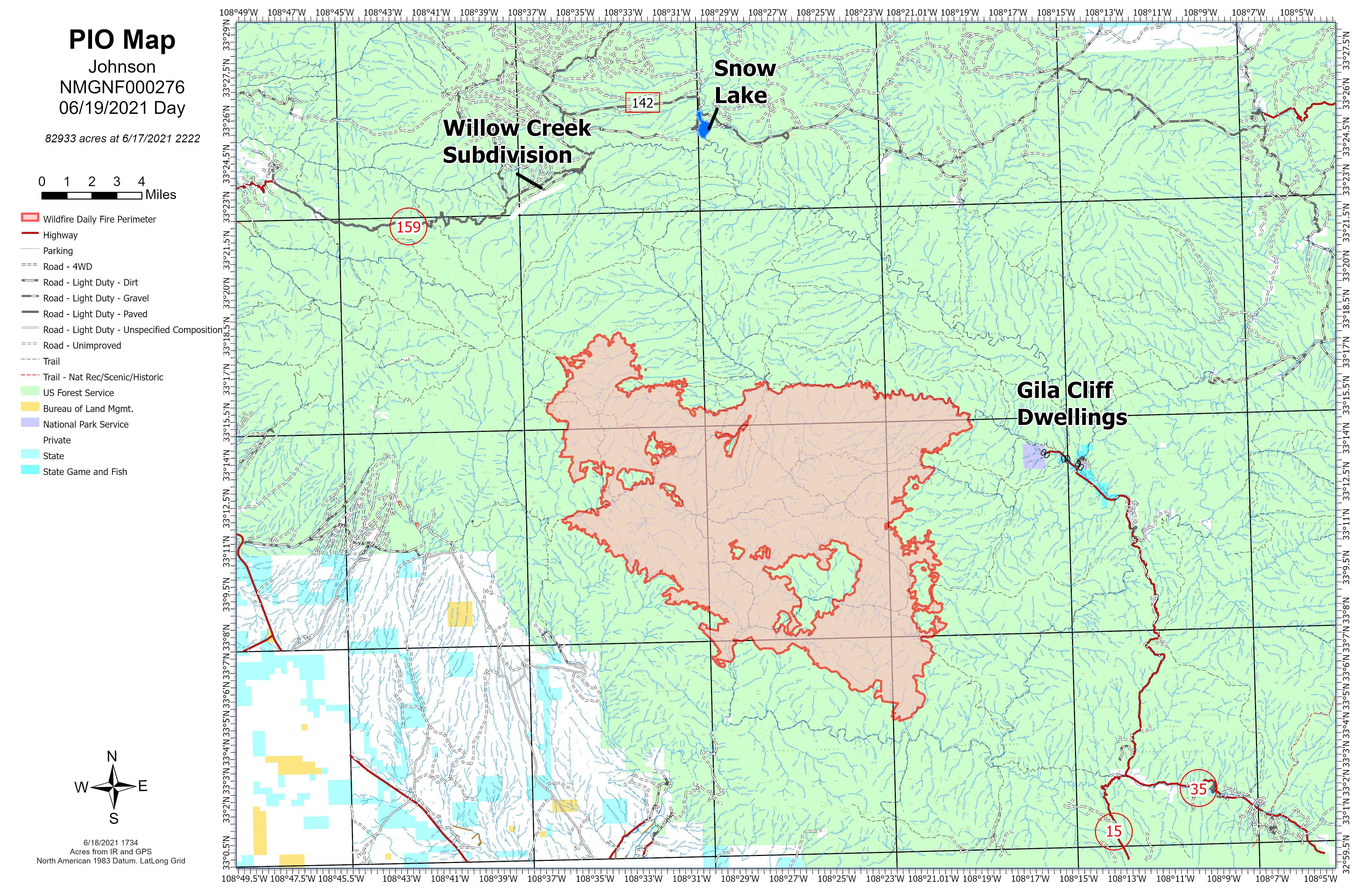 This map shows the fire perimeter in relation to landmarks. NOTE: Maps represent approximate information.