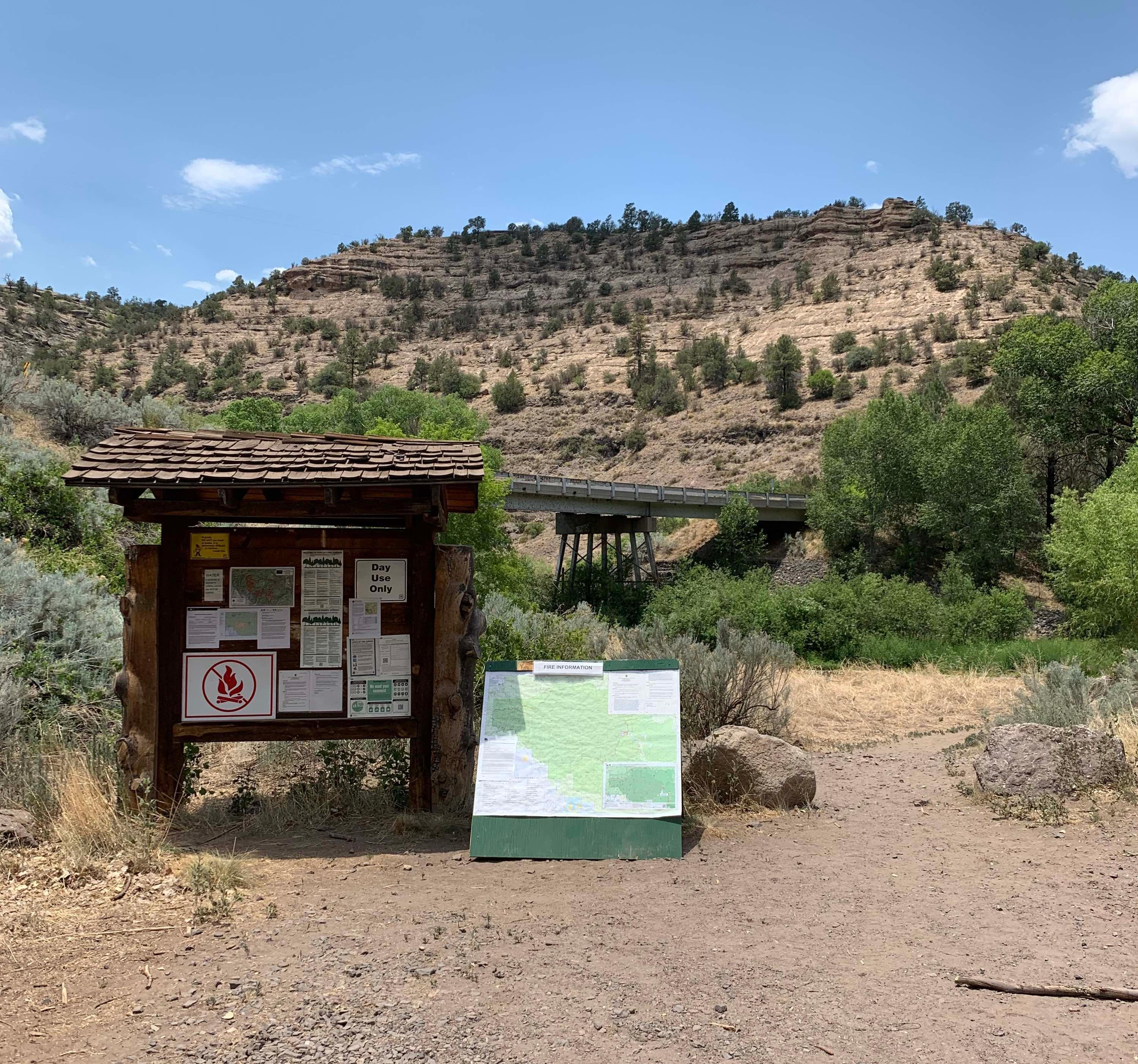 Information kiosk at the Grapevine Campground on the Gila National Forest.