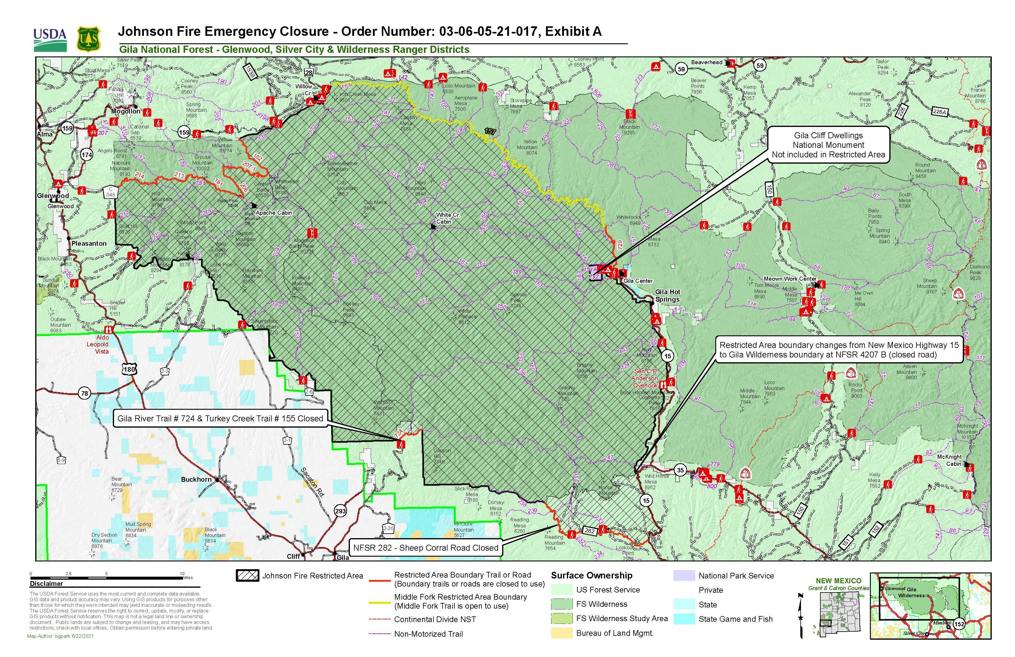 Map of closure area associated with Johnson Fire on wilderness district of Gila National Forest. This is associated with closure order# 03-06-05-21-017 signed June 22, 2021