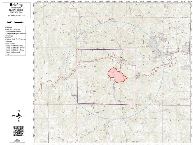 Drummond Fire Area Map as of June 4
