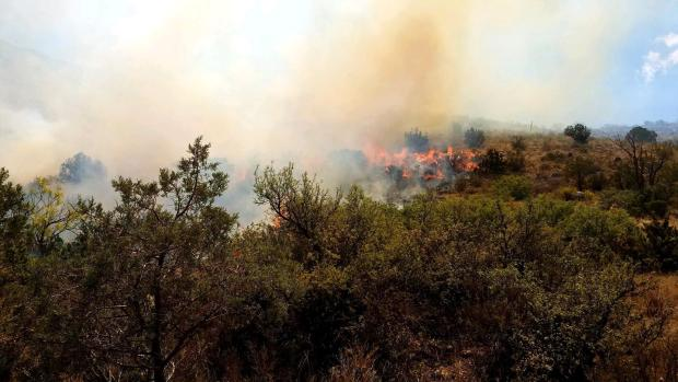 Fire burning on the top of a hill.