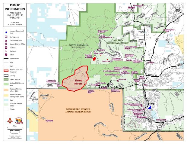 Three Rivers Fire Public Information Map for 4/28