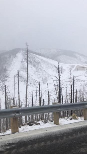 April 27, 2021 Snow storm over the Three Rivers Fire.