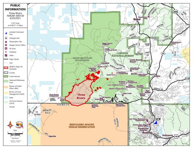 Three Rivers Fire perimeter map for 4-30