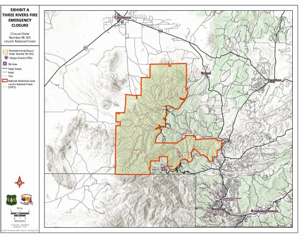 Perimeter map of the Lincoln National Forest Closure map due to the Three Rivers Fire