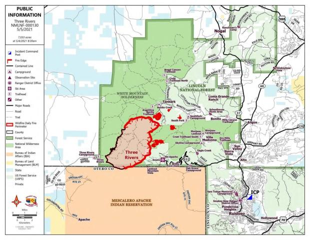 Perimeter of the Three Rivers Fire