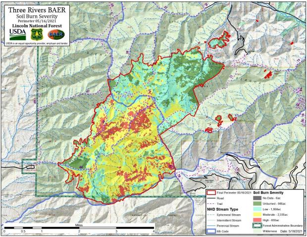 Largest amount of high and moderate soil burn severity is on the Western side of the fire, Three Rivers side of the fire.