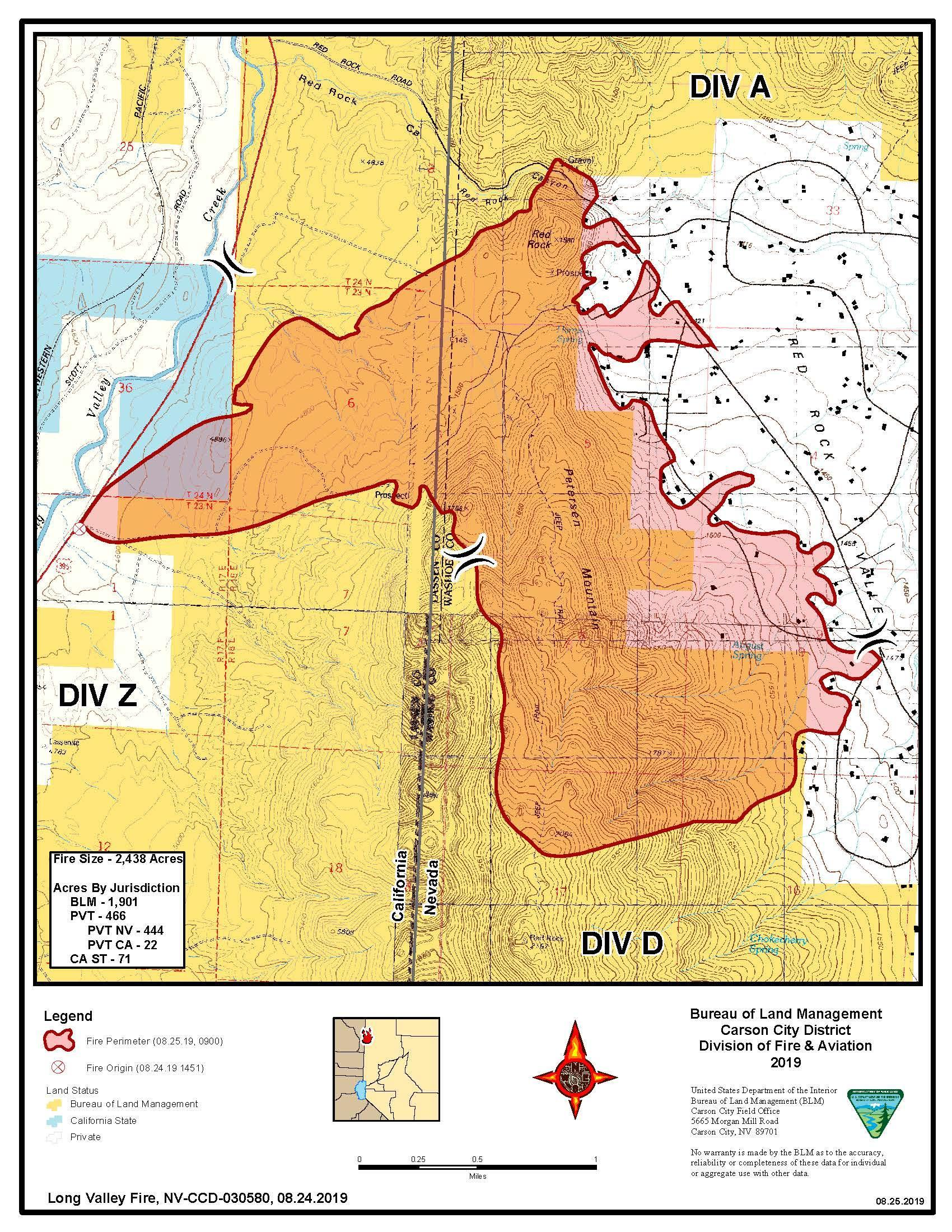 Long Valley Fire Perimeter Map 8-25-19
