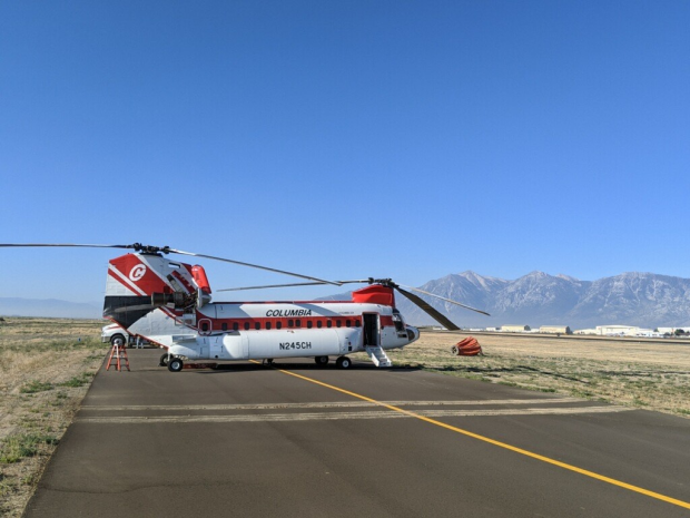 Chinook helicopter on runway.