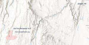 This is a map showing the Elk Fire Perimeter on the landscape 8-21.