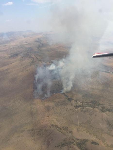 This is a photo of the Elk Fire taken from the air attack plane on August 19