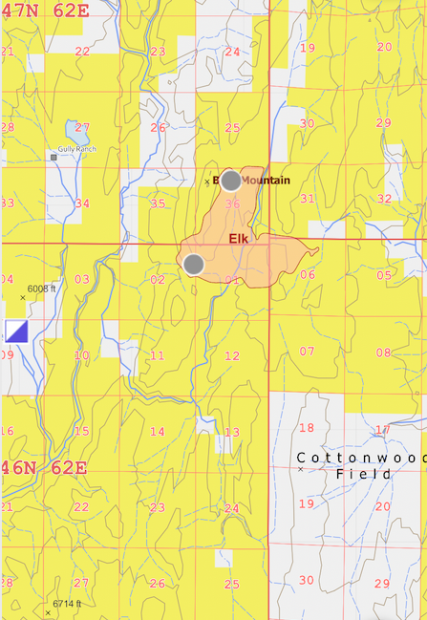 This is a map showing the perimeter of the Elk Fire on August 20.
