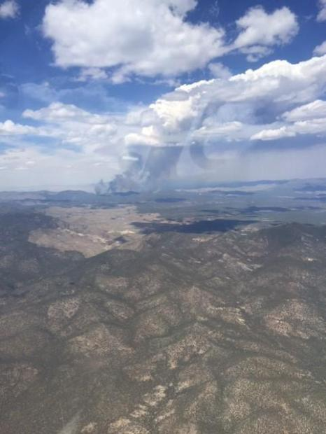 Aerial photo of the Miller Fire, Saturday afternoon, June 27