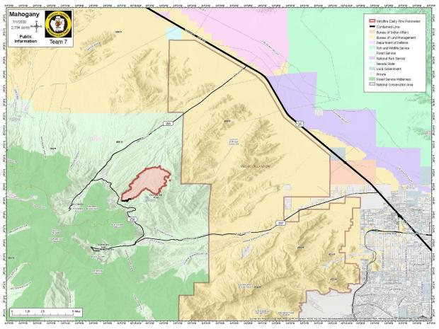 7/1/2020 Mahogany Fire perimeter map showing 2794 acres burned and containment on the south side of the fire at 10%.