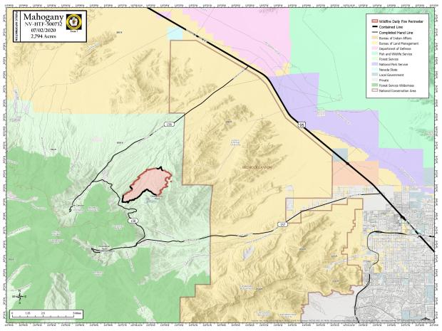 7/1/2020 Fire Perimeter and Containment PIO Map showing increased containment at 40%.
