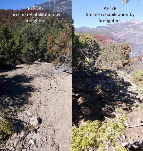 Fireline before and after rehab by firefighters. In the before pictures, the fireline is clearly visible. In the after photo, the fireline has waterbars and vegetation cover to prevent washout.