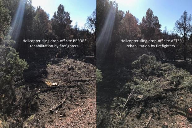 Helicopter sling dropoff site before & after rehab. The cleared area where helicopters dropped off supplies was rehabbed.