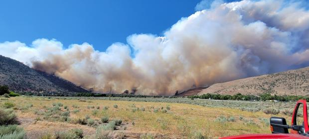 smoke and fire in the 395 area