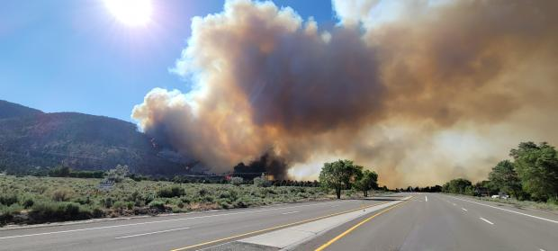 fire and smoke in the 395 area July 22
